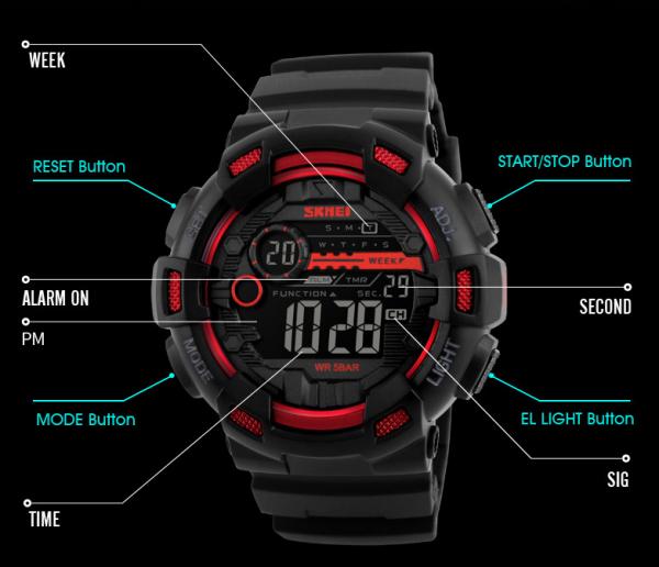 Vodotesné pánske digitálne hodinky so športovým dizajnom vo viac farbách