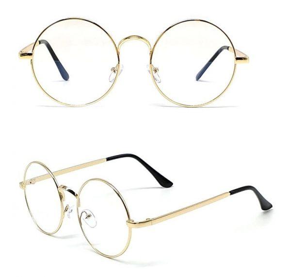 Štýlové retro pánske okuliare na počítač so zlatým rámikom
