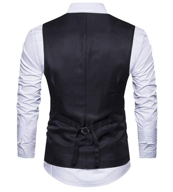 Luxusná pánska vesta ku obleku s ornamentom v čiernej farbe