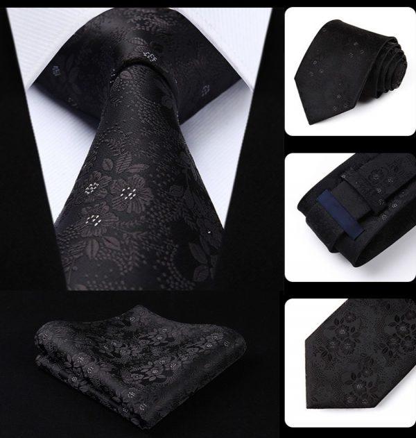 Kvalitný kravatový set - kravata + vreckovka so vzorom v čiernej farbe