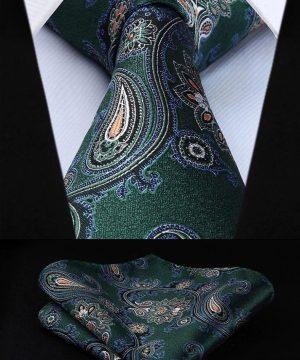 Kvalitný kravatový set - kravata + vreckovka so vzorom v zelenej farbe