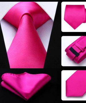 Kvalitný kravatový set - kravata + vreckovka v ružovej farbe
