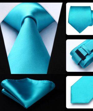 Kvalitný kravatový set - kravata + vreckovka v tyrkysovej farbe