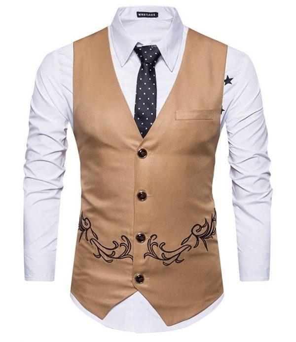Luxusná pánska vesta ku obleku s ornamentom v hnedej farbe
