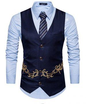 Luxusná pánska vesta ku obleku s ornamentom v modrej farbe