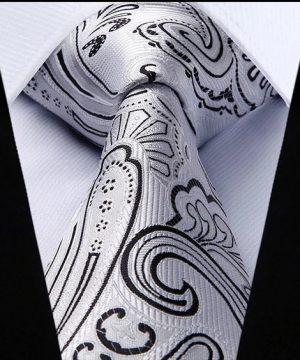 Luxusný kravatový set - kravata + vreckovka so vzorom v sivej farbe