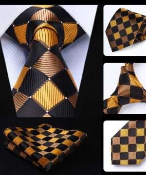 Luxusný kravatový set - kravata + vreckovka so zlatým vzorom