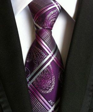 Pánska kravata s luxusným bielo-fialovým vzorom