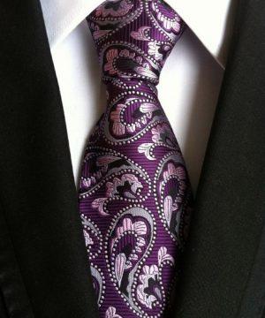 Pánska kravata s prepracovaným fialovo-ružovým vzorom