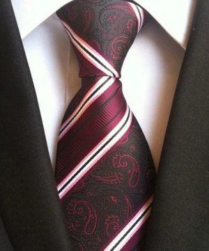 Pánska kravata v čiernej farbe s luxusným červeno-bordovým vzorom