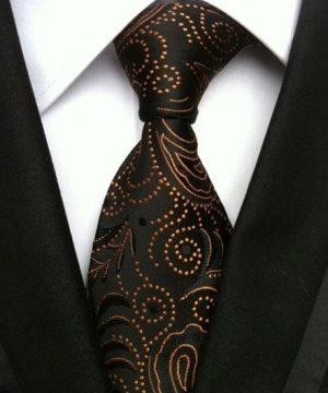 Pánska kravata v čiernej farbe s luxusným pomarančovo-zlatým vzorom