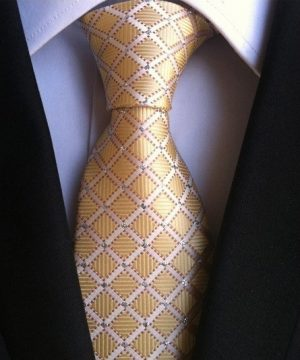 Pánska kravata v krémovo-zlatej farbe so štvorčekovým vzorom