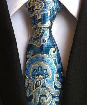 Pánska kravata v modrej farbe s luxusným modro-zlatým vzorom