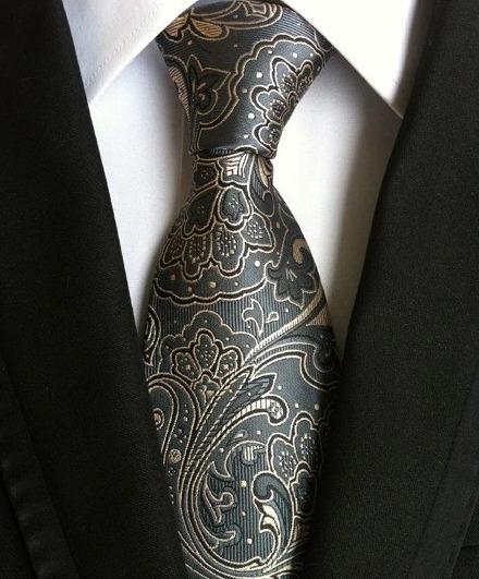 Pánska kravata v sivo-modrej farbe s luxusným vzorom