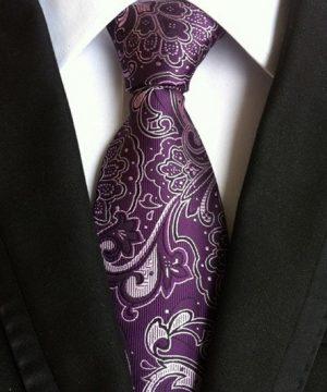 Pánska kravata vo fialovej farbe s luxusným bielym vzorom