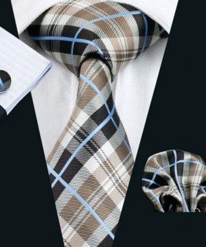 Pánsky kravatový set - kravata + manžety + vreckovka s károvaným vzorom