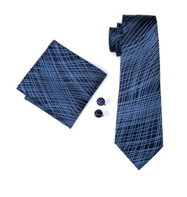 Pánsky kravatový set - kravata + manžety + vreckovka s modrým vzorom