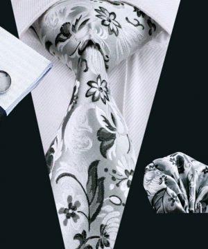 Pánsky kravatový set - kravata + manžety + vreckovka so strieborným vzorom