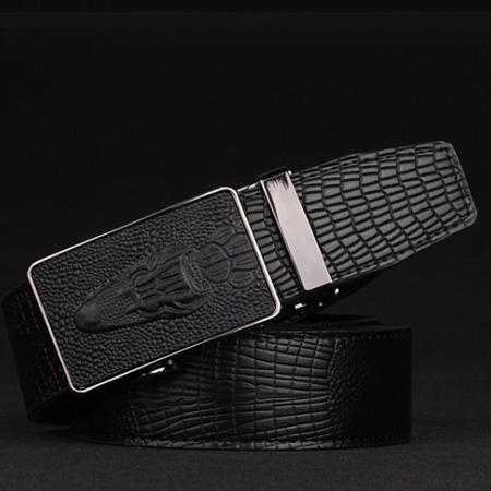 3128c880c Pánsky opasok so vzorom krokodíla z čiernej kože s automatickou prackou (1)
