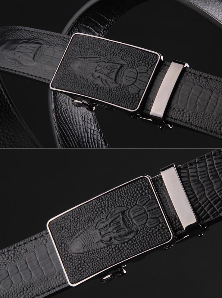 03168f83a Pánsky opasok so vzorom krokodíla z čiernej kože s automatickou prackou