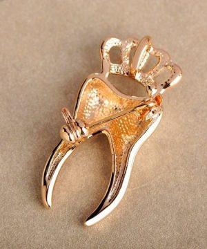 Prepracovaná brošňa pre pánov - zlatý zub s korunkou a kryštálikmi