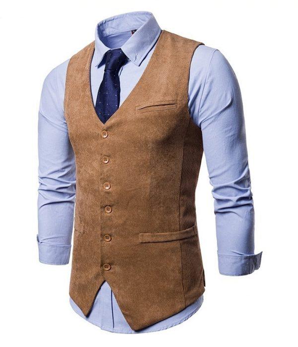 Retro pánska vesta ku obleku v tvídovom menčestrovom prevedení - hnedá