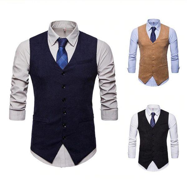 Retro pánska vesta ku obleku v tvídovom menčestrovom prevedení - modrá