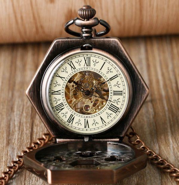 Samo-naťahovacie pánske vreckové hodinky v luxusnom medenom prevedení