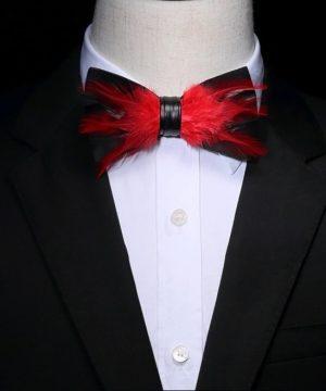 Luxusný pánsky motýlik z vtáčích pierok, čierny s červenými pierkami