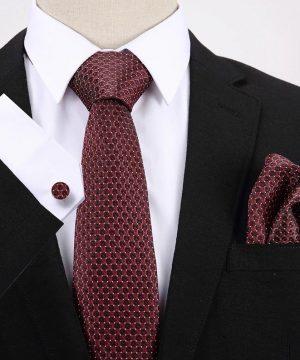 Pánsky darčekový set - kravata + manžety + vreckovka s červeným vzorom