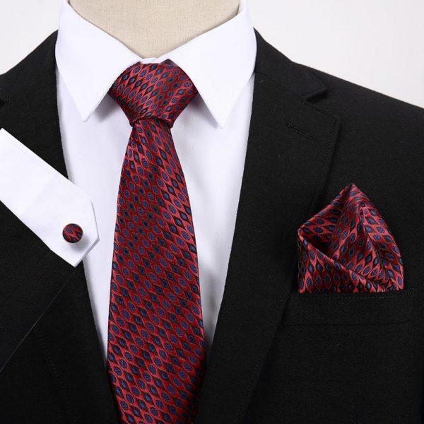 Pánsky darčekový set - kravata + manžety + vreckovka s červeno-modrým vzorom