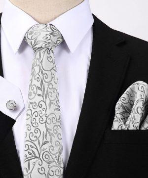 Pánsky darčekový set - kravata + manžety + vreckovka s bielo-sivým vzorom