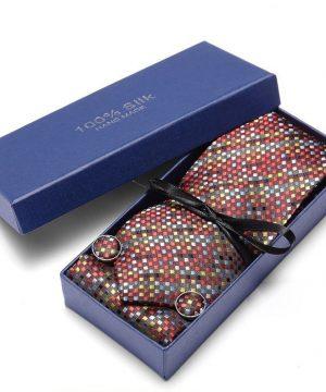 Pánsky darčekový set - kravata + manžety + vreckovka s farebným vzorom