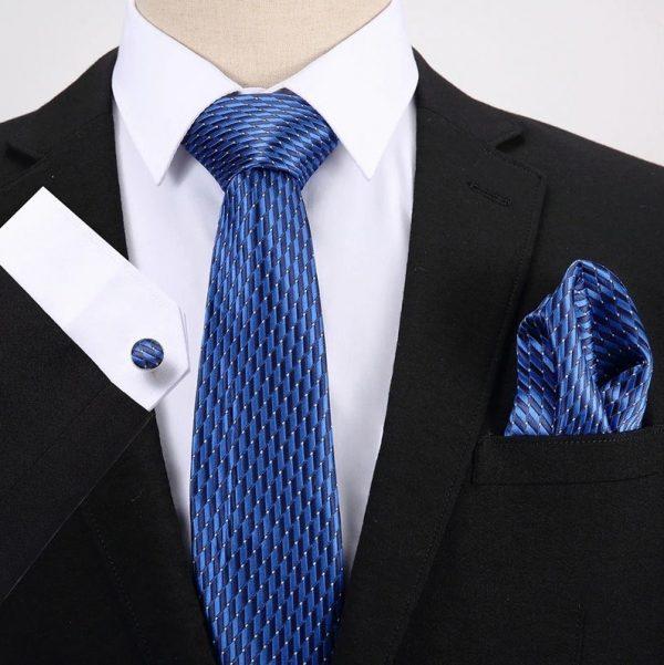 Pánsky darčekový set - kravata + manžety + vreckovka s modrým vzorom