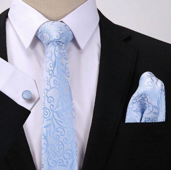 Pánsky darčekový set - kravata + manžety + vreckovka so svetlo-modrým vzorom