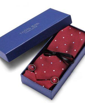 Pánsky darčekový set - kravata + manžety + vreckovka v červenej farbe s bodkami