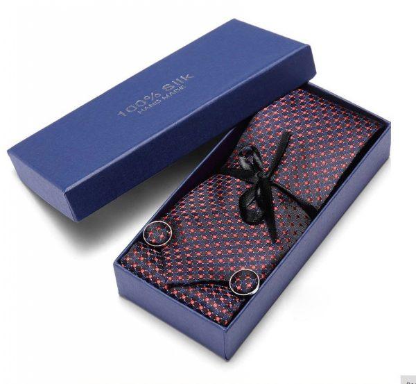 Pánsky darčekový set - kravata + manžety + vreckovka v červeno-modrom prevedení
