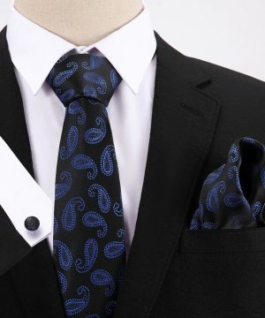 Pánsky darčekový set - kravata + manžety + vreckovka v čierno-modrej farbe