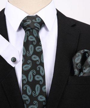 Pánsky darčekový set - kravata + manžety + vreckovka v čierno-zelenej farbe