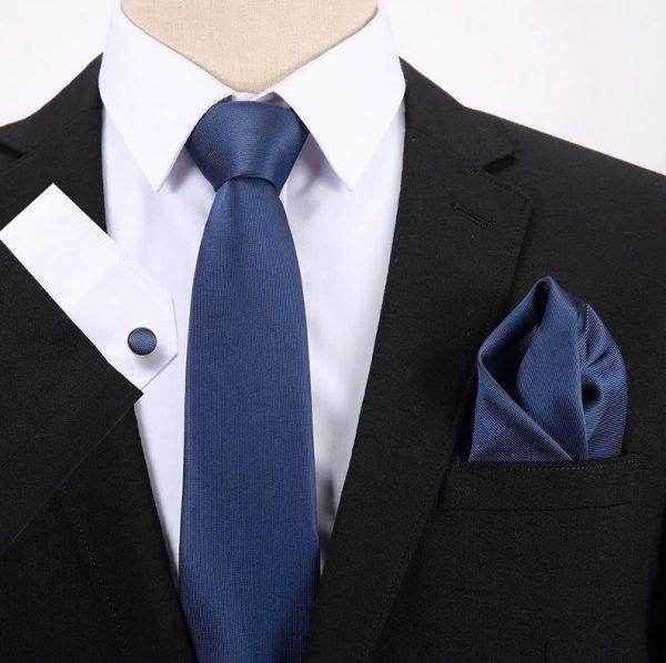 Pánsky darčekový set - kravata + manžety + vreckovka v modrej farbe
