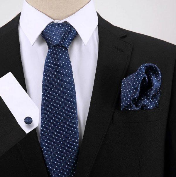 Pánsky darčekový set - kravata + manžety + vreckovka v modrej farbe s bodkami