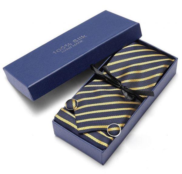 Pánsky darčekový set - kravata + manžety + vreckovka v modro-žltej farbe
