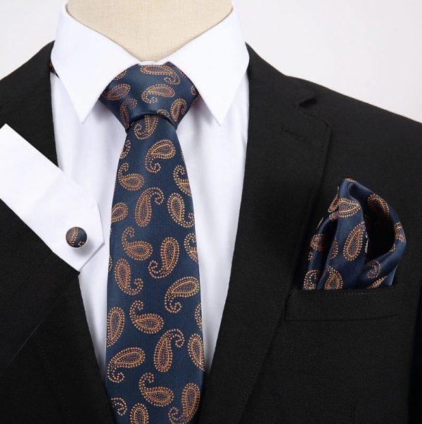 Pánsky darčekový set - kravata + manžety + vreckovka v modro-oranžovej farbe
