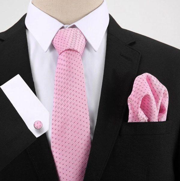 Pánsky darčekový set - kravata + manžety + vreckovka v ružovej farbe