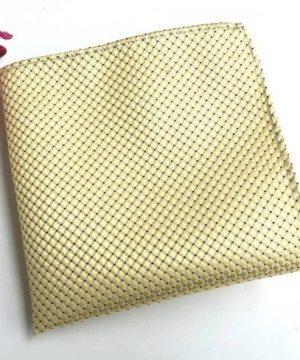 Pánsky hodvábny kravatový set - kravata + viazanka v žltej farbe