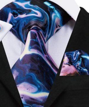 Pánsky kravatový set - kravata + manžety + vreckovka s dizajnovým prevedením