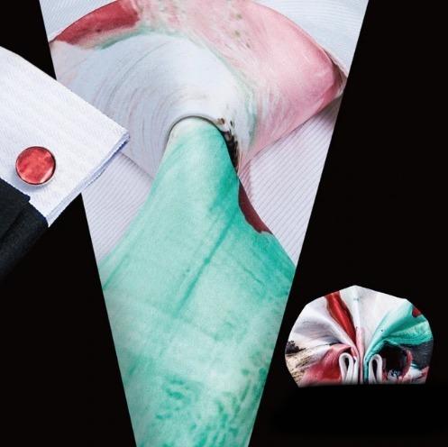 Pánsky kravatový set - kravata + manžety + vreckovka s farebným motívom
