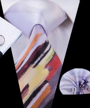 Pánsky kravatový set - kravata + manžety + vreckovka s umeleckým vzorom