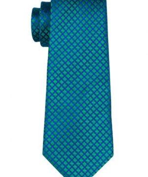 Pánsky kravatový set - kravata + manžety + vreckovka v zeleno-modrej farbe