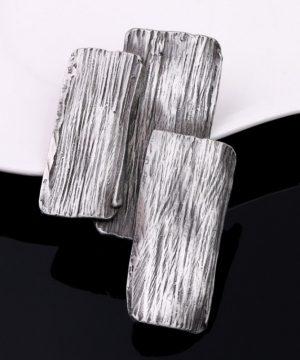 Prepracovaná ručne brúsená a leptaná brošňa - oceľová kôra stromu